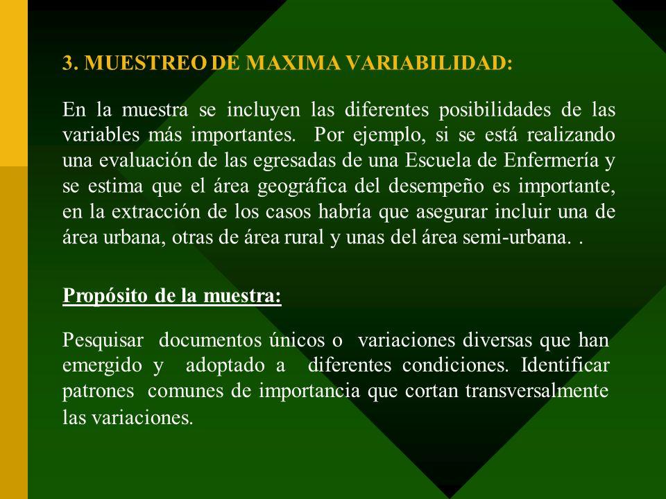 3. MUESTREO DE MAXIMA VARIABILIDAD: En la muestra se incluyen las diferentes posibilidades de las variables más importantes. Por ejemplo, si se está r