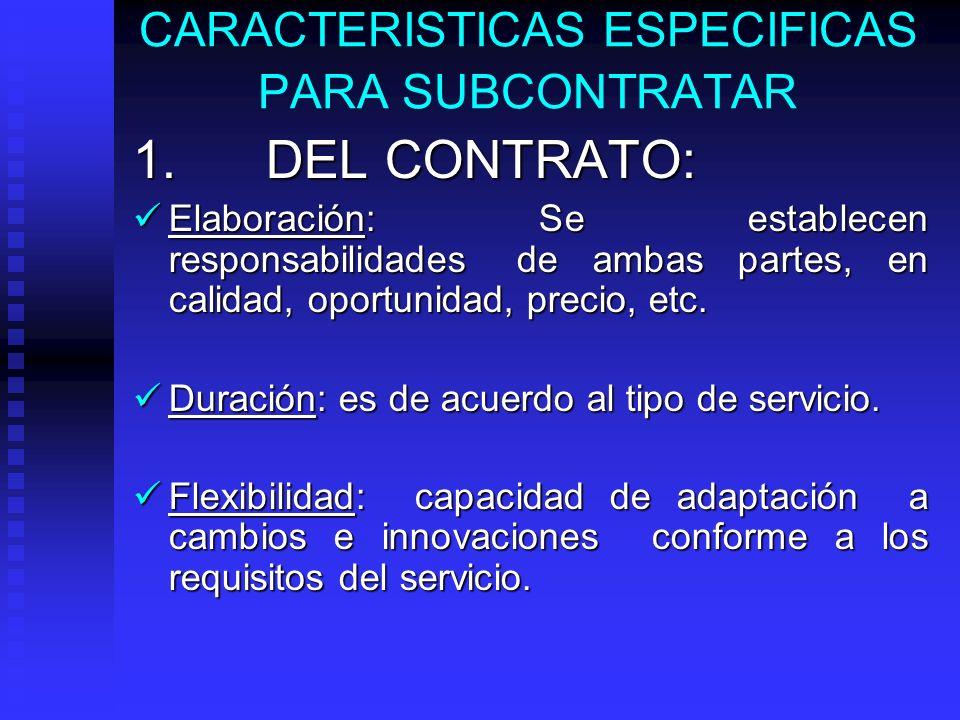 CARACTERISTICAS GENERALES PARA SUBCONTRATAR Libertad de seleccionar a proveedores específicos. Libertad de seleccionar a proveedores específicos. Se f