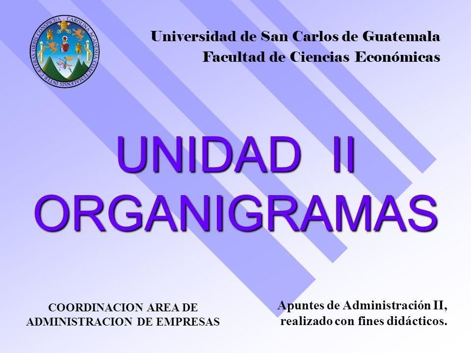 UNIDAD II ORGANIGRAMAS 1 Universidad de San Carlos de Guatemala Facultad de Ciencias Económicas COORDINACION AREA DE ADMINISTRACION DE EMPRESAS Apunte
