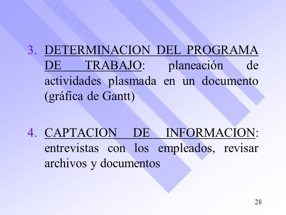 3. 3.DETERMINACION DEL PROGRAMA DE TRABAJO: planeación de actividades plasmada en un documento (gráfica de Gantt) 4. 4.CAPTACION DE INFORMACION: entre