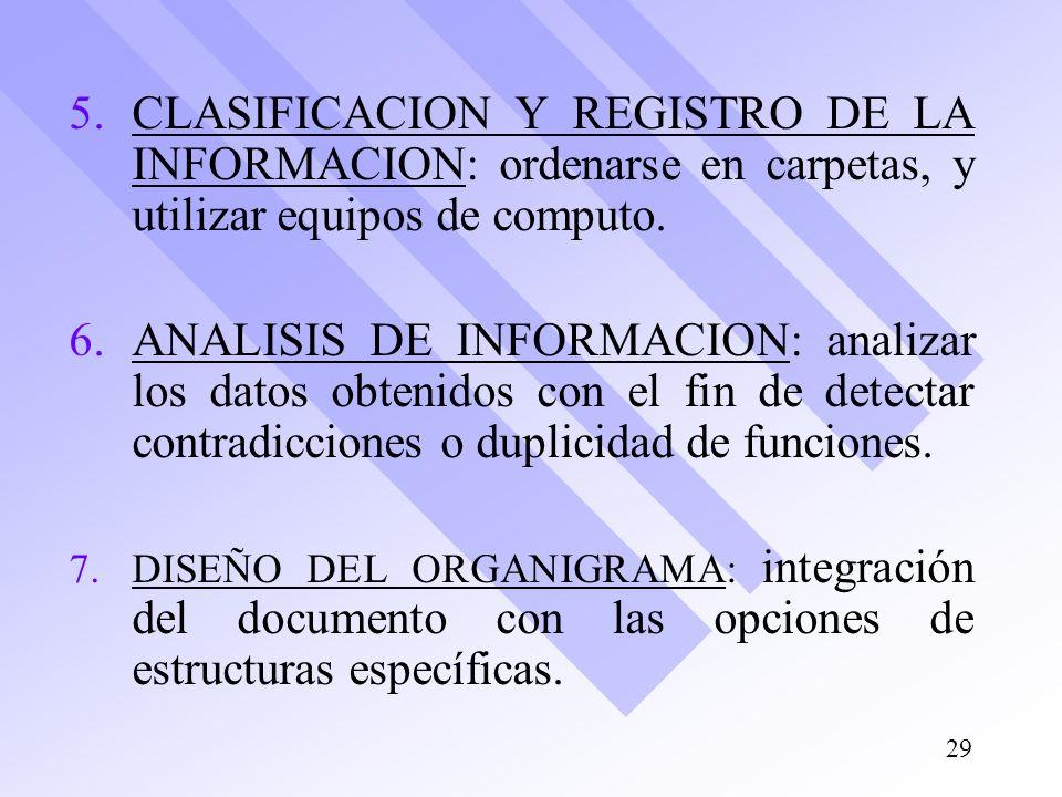 5. 5.CLASIFICACION Y REGISTRO DE LA INFORMACION: ordenarse en carpetas, y utilizar equipos de computo. 6. 6.ANALISIS DE INFORMACION: analizar los dato