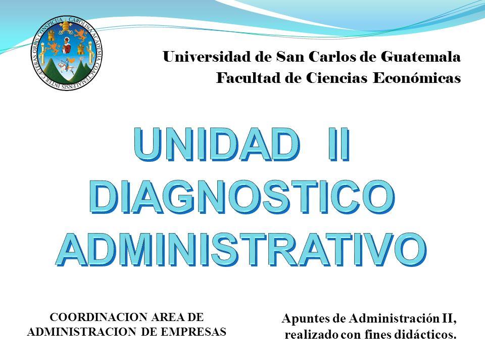 Universidad de San Carlos de Guatemala Facultad de Ciencias Económicas Apuntes de Administración II, realizado con fines didácticos. COORDINACION AREA