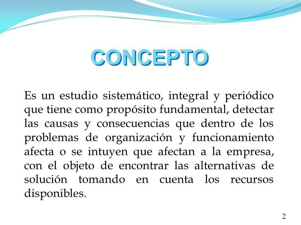 CONCEPTO Es un estudio sistemático, integral y periódico que tiene como propósito fundamental, detectar las causas y consecuencias que dentro de los p