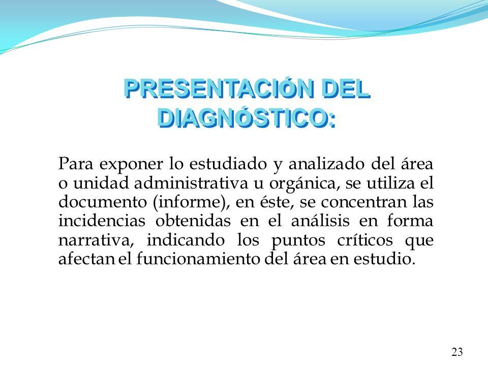 PRESENTACI Ó N DEL DIAGN Ó STICO: Para exponer lo estudiado y analizado del área o unidad administrativa u orgánica, se utiliza el documento (informe)