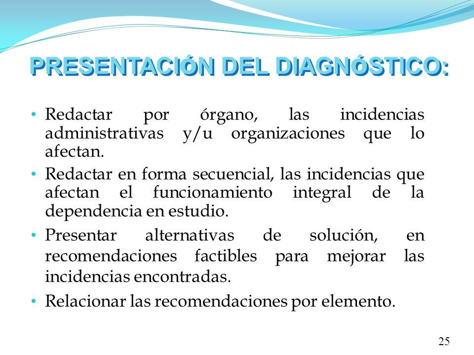 PRESENTACI Ó N DEL DIAGN Ó STICO: 25 Redactar por órgano, las incidencias administrativas y/u organizaciones que lo afectan. Redactar en forma secuenc