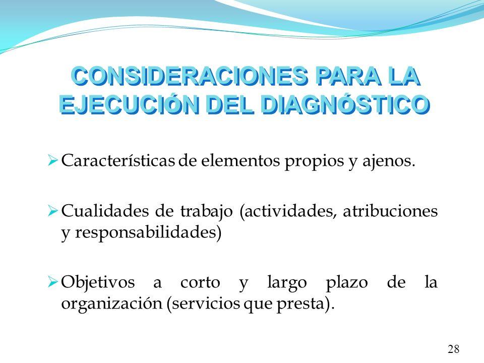CONSIDERACIONES PARA LA EJECUCI Ó N DEL DIAGN Ó STICO 28 Características de elementos propios y ajenos. Cualidades de trabajo (actividades, atribucion