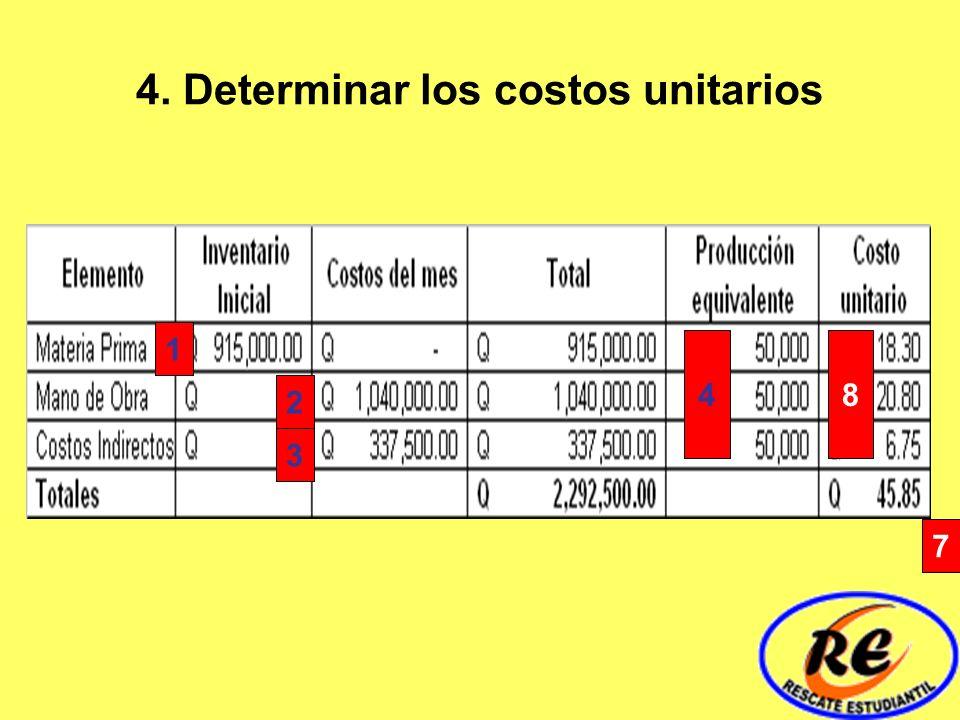 4. Determinar los costos unitarios 1 3 2 4 7 8
