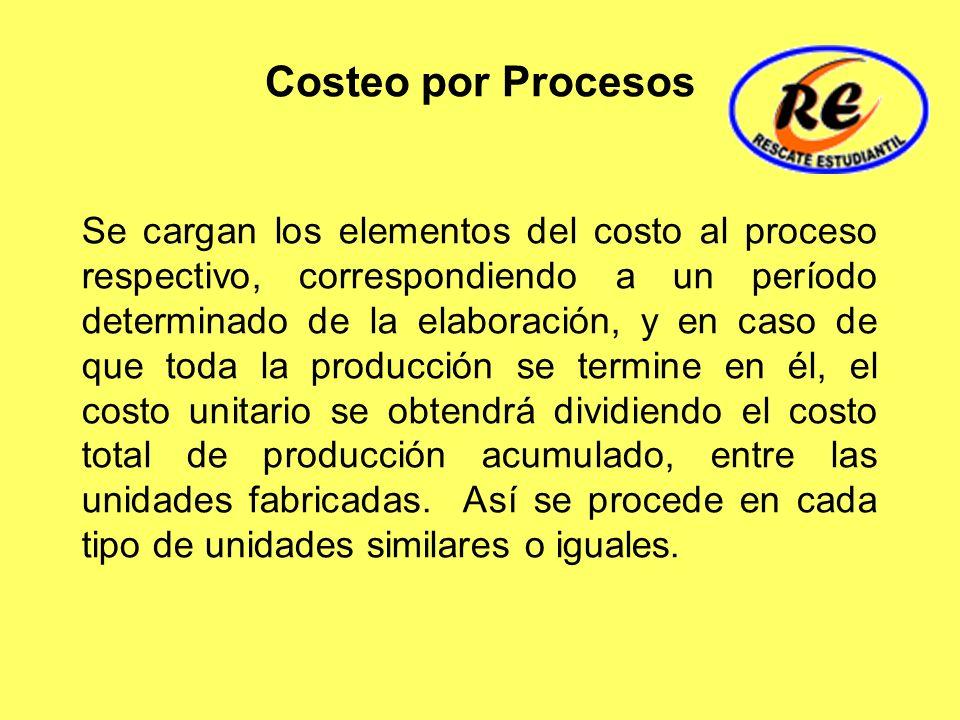 Costeo por Procesos Se cargan los elementos del costo al proceso respectivo, correspondiendo a un período determinado de la elaboración, y en caso de