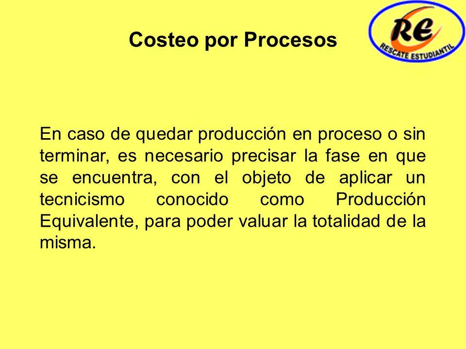 Costeo por Procesos En caso de quedar producción en proceso o sin terminar, es necesario precisar la fase en que se encuentra, con el objeto de aplica