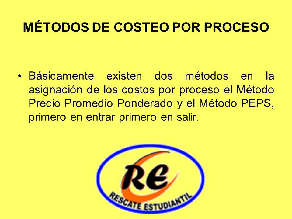 MÉTODOS DE COSTEO POR PROCESO Básicamente existen dos métodos en la asignación de los costos por proceso el Método Precio Promedio Ponderado y el Méto
