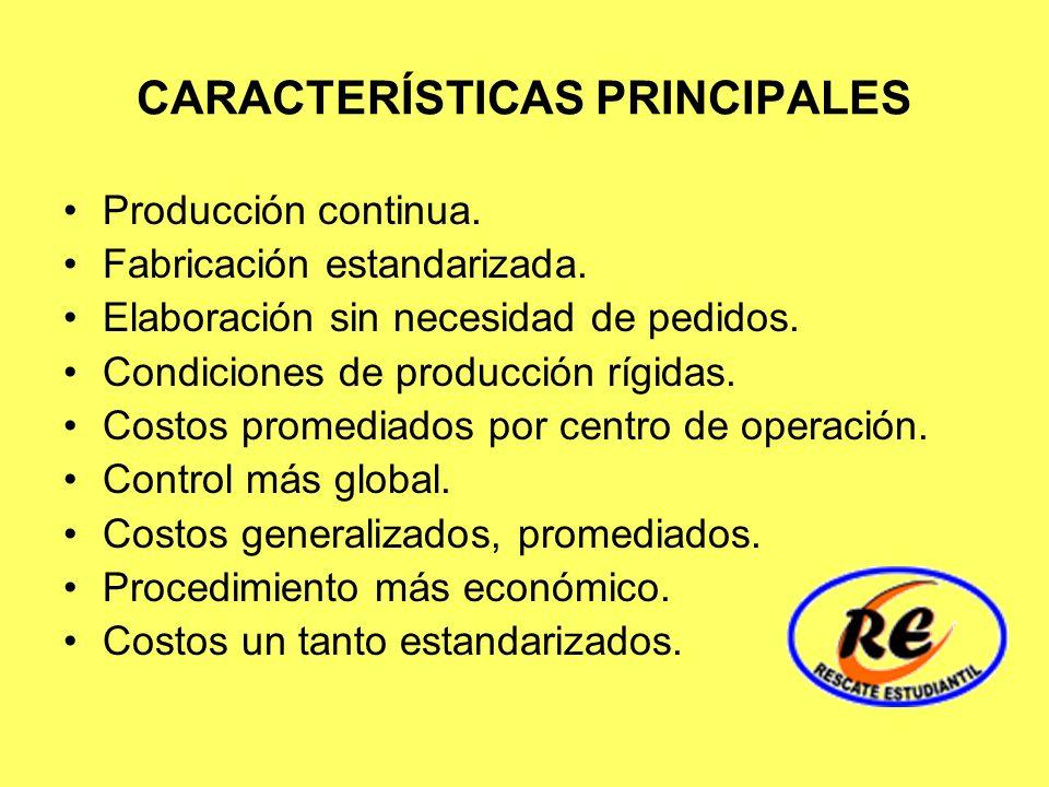 CARACTERÍSTICAS PRINCIPALES Producción continua. Fabricación estandarizada. Elaboración sin necesidad de pedidos. Condiciones de producción rígidas. C