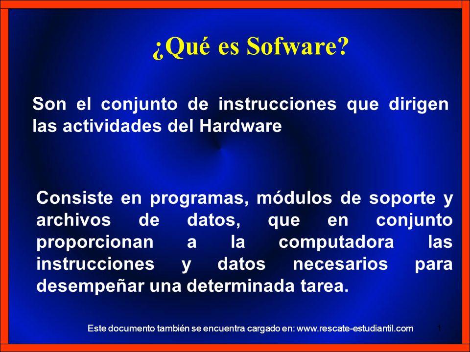 Son el conjunto de instrucciones que dirigen las actividades del Hardware ¿Qué es Sofware? Consiste en programas, módulos de soporte y archivos de dat