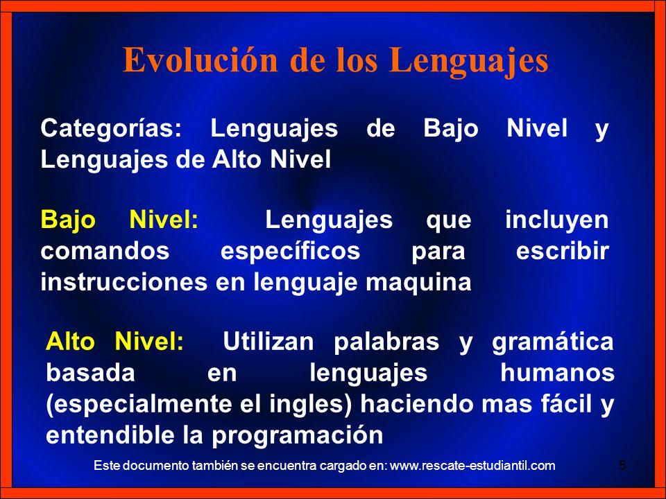 Categorías: Lenguajes de Bajo Nivel y Lenguajes de Alto Nivel Evolución de los Lenguajes Bajo Nivel: Lenguajes que incluyen comandos específicos para