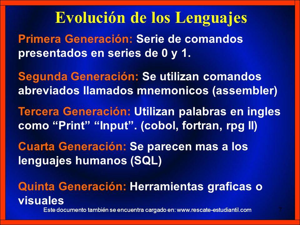 Primera Generación: Serie de comandos presentados en series de 0 y 1. Evolución de los Lenguajes Segunda Generación: Se utilizan comandos abreviados l