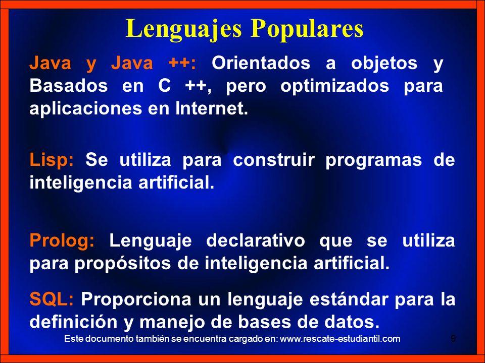 Java y Java ++: Orientados a objetos y Basados en C ++, pero optimizados para aplicaciones en Internet. Lenguajes Populares Lisp: Se utiliza para cons