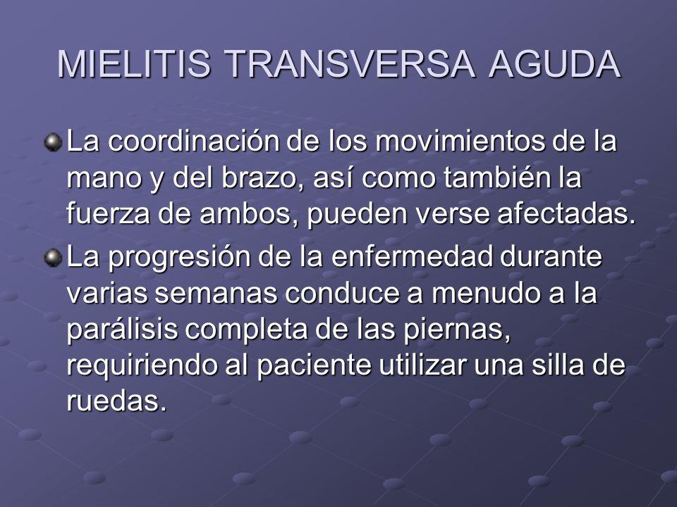 MIELITIS TRANSVERSA AGUDA La coordinación de los movimientos de la mano y del brazo, así como también la fuerza de ambos, pueden verse afectadas. La p
