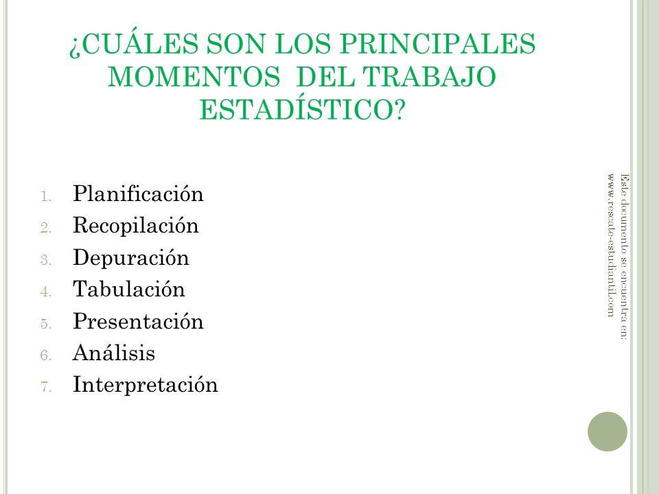 ¿CUÁLES SON LOS PRINCIPALES MOMENTOS DEL TRABAJO ESTADÍSTICO? 1. Planificación 2. Recopilación 3. Depuración 4. Tabulación 5. Presentación 6. Análisis