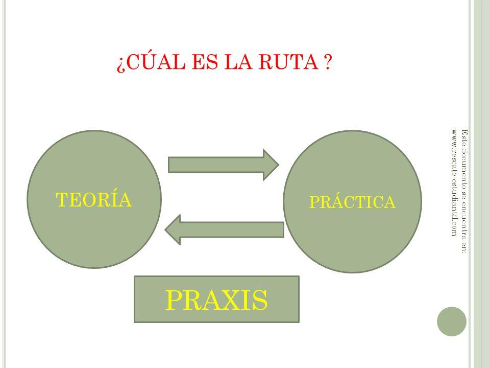 ¿CÚAL ES LA RUTA ? TEORÍA PRÁCTICA PRAXIS Este documento se encuentra en: www.rescate-estudiantil.com