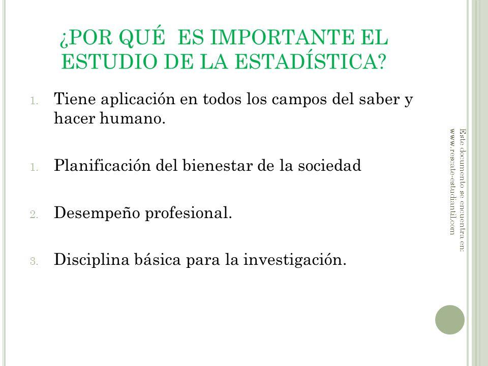 ¿POR QUÉ ES IMPORTANTE EL ESTUDIO DE LA ESTADÍSTICA? 1. Tiene aplicación en todos los campos del saber y hacer humano. 1. Planificación del bienestar