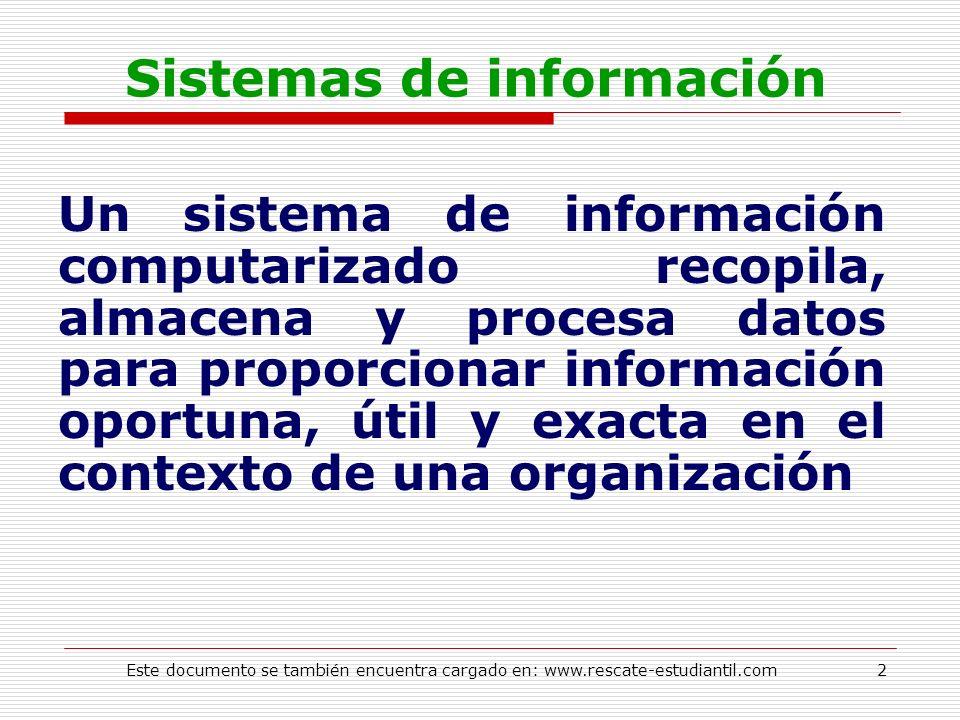 Sistemas de información Un sistema de información computarizado recopila, almacena y procesa datos para proporcionar información oportuna, útil y exac