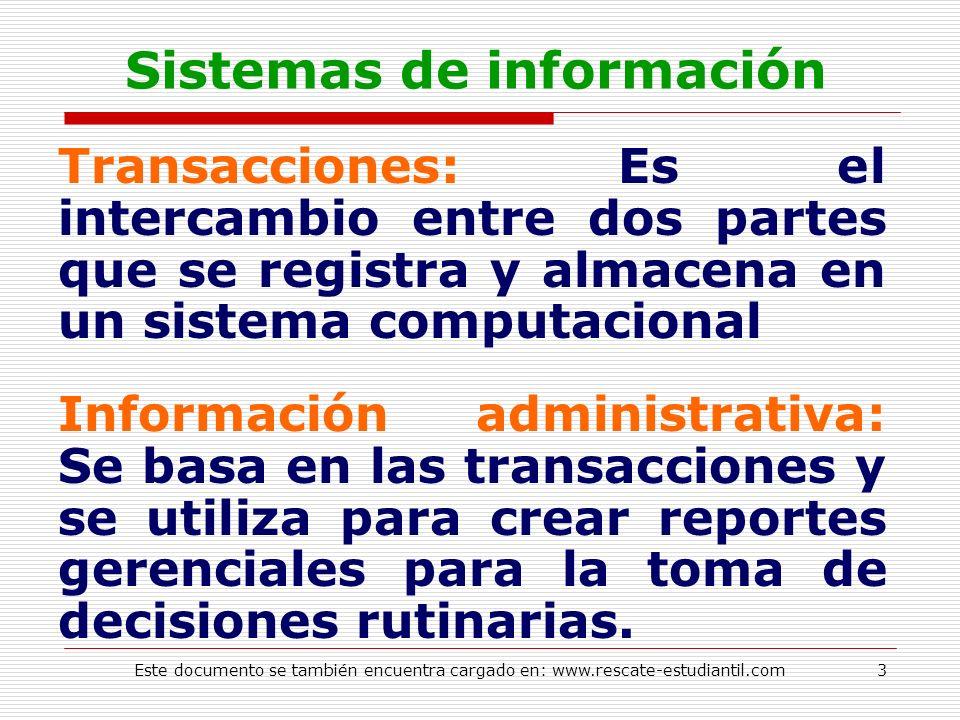 Sistemas de información Transacciones: Es el intercambio entre dos partes que se registra y almacena en un sistema computacional Información administr