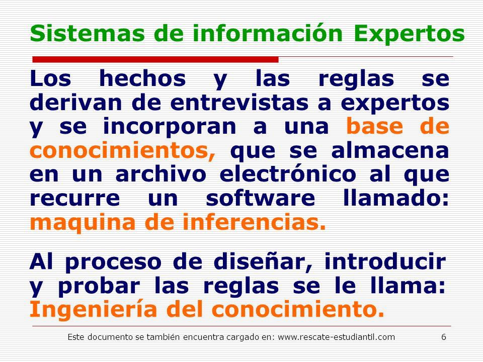 Sistemas de información Expertos Los hechos y las reglas se derivan de entrevistas a expertos y se incorporan a una base de conocimientos, que se alma