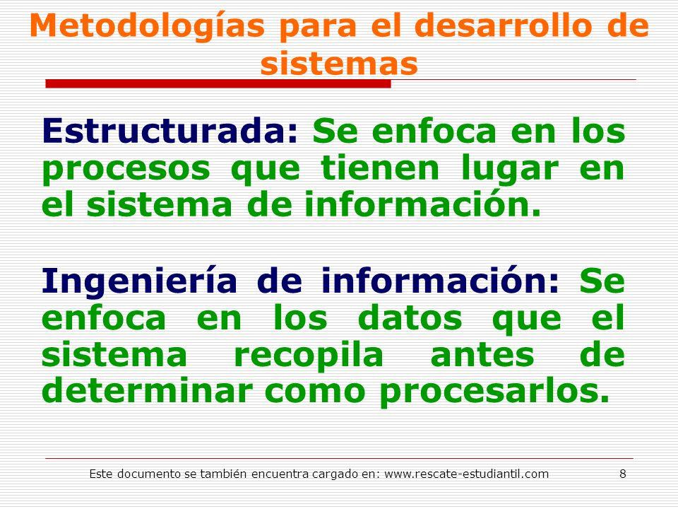 Metodologías para el desarrollo de sistemas Estructurada: Se enfoca en los procesos que tienen lugar en el sistema de información. Ingeniería de infor