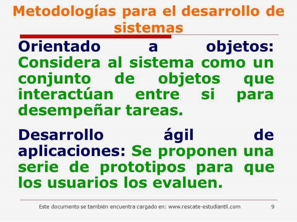 Metodologías para el desarrollo de sistemas Orientado a objetos: Considera al sistema como un conjunto de objetos que interactúan entre si para desemp