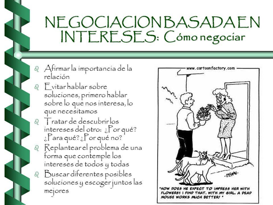 NEGOCIACION BASADA EN INTERESES: Actitudes presentes b La relación es importante b Buscar las formas de satisfacer las necesidades de los dos para que