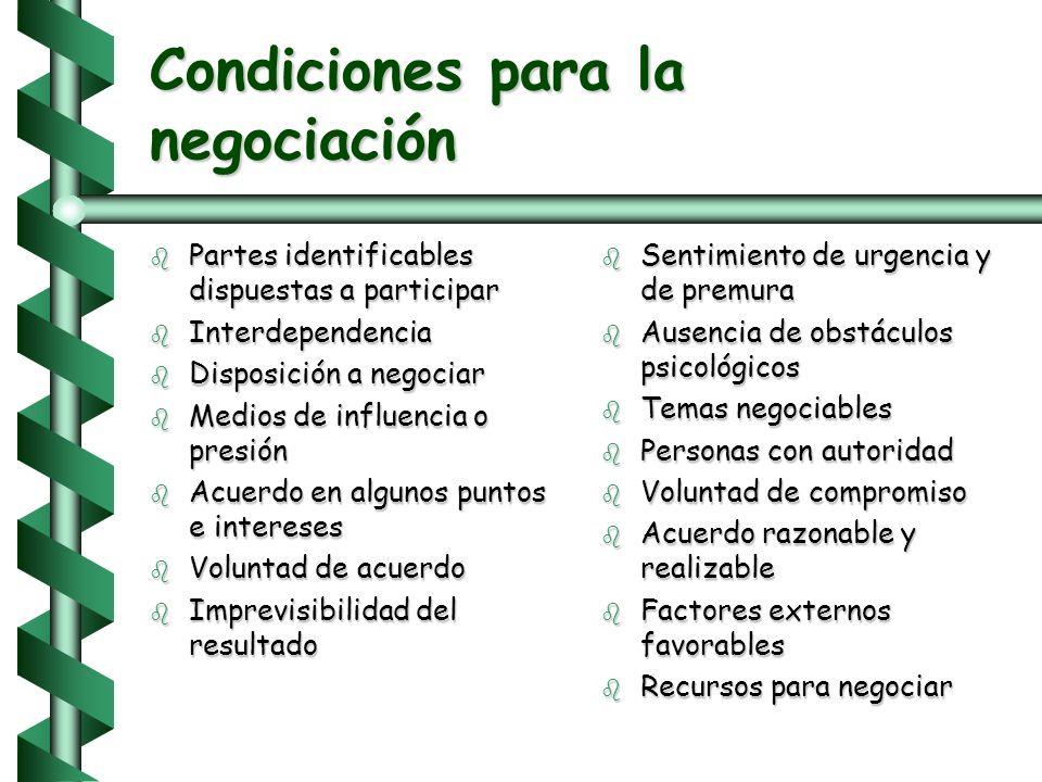 NEGOCIACION b Proceso de resolución de problemas en el cual dos o más personas discuten voluntariamente sus diferencias e intentan alcanzar una decisi