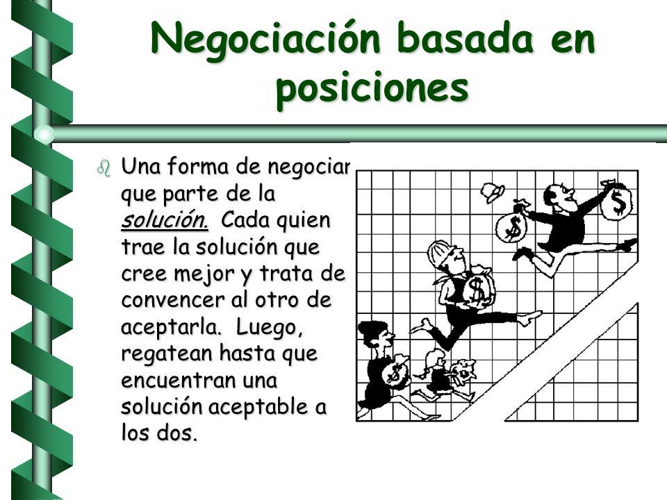 Supuestos de la negociación b El pastel es pequeño b La mejor solución es dividir el pastel b Ganar-ganar no es posible. b Ganar-perder = demasiados a