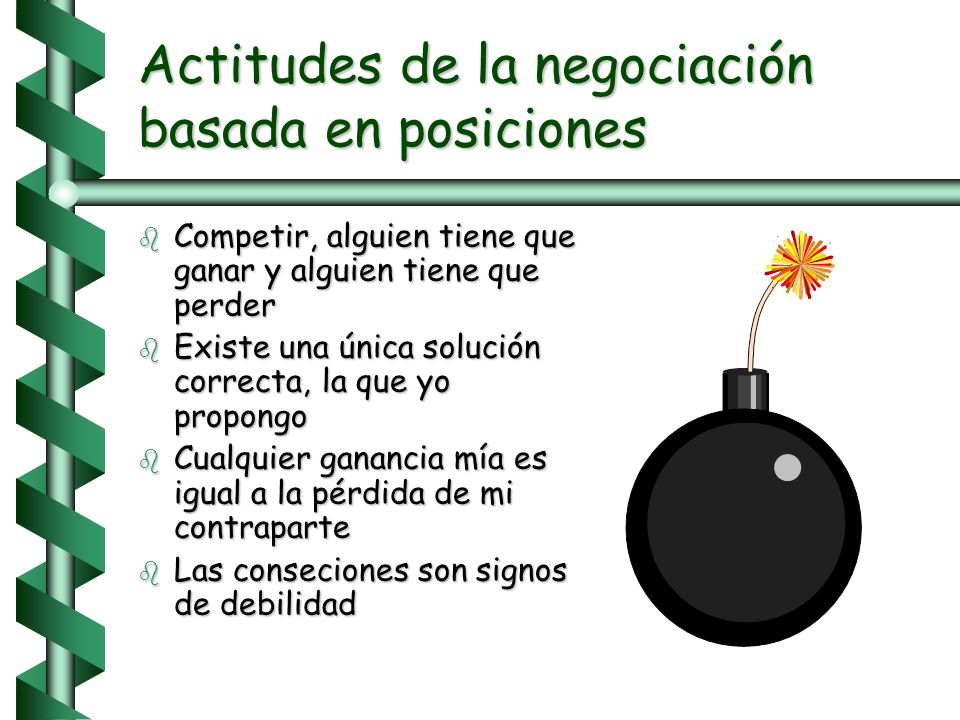 Negociación basada en posiciones b Una forma de negociar que parte de la solución. Cada quien trae la solución que cree mejor y trata de convencer al