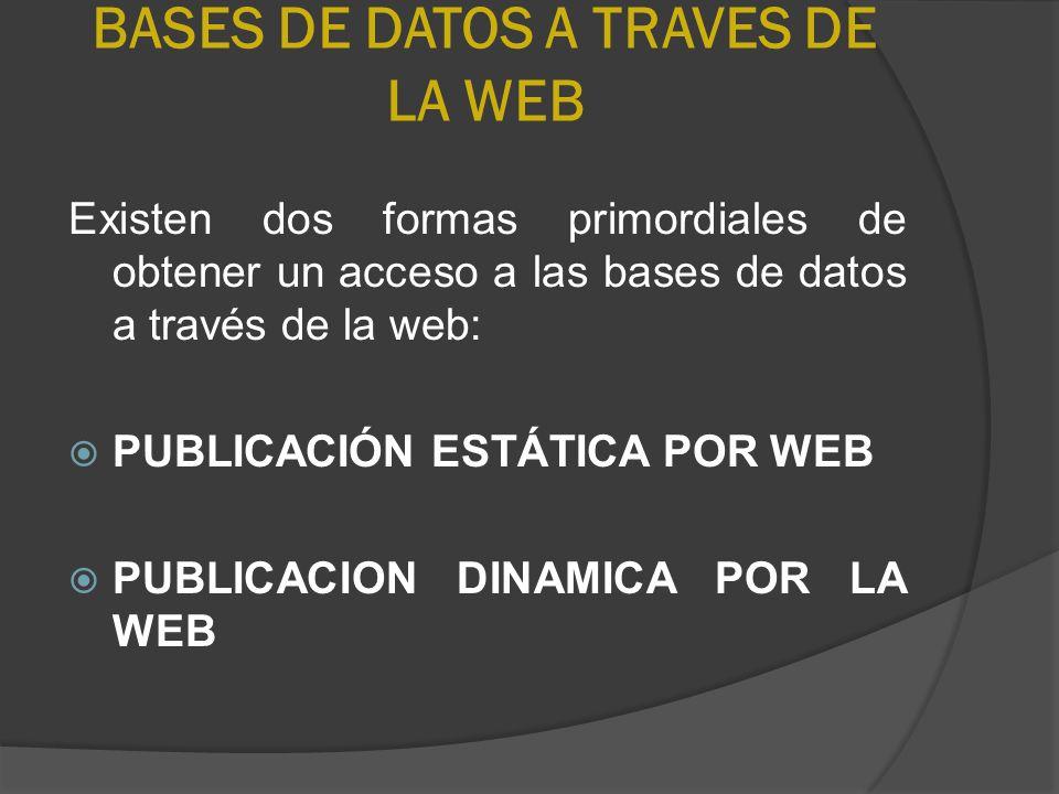 BASES DE DATOS A TRAVES DE LA WEB Existen dos formas primordiales de obtener un acceso a las bases de datos a través de la web: PUBLICACIÓN ESTÁTICA P