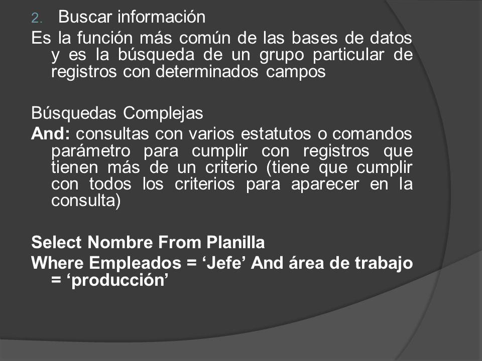 2. Buscar información Es la función más común de las bases de datos y es la búsqueda de un grupo particular de registros con determinados campos Búsqu