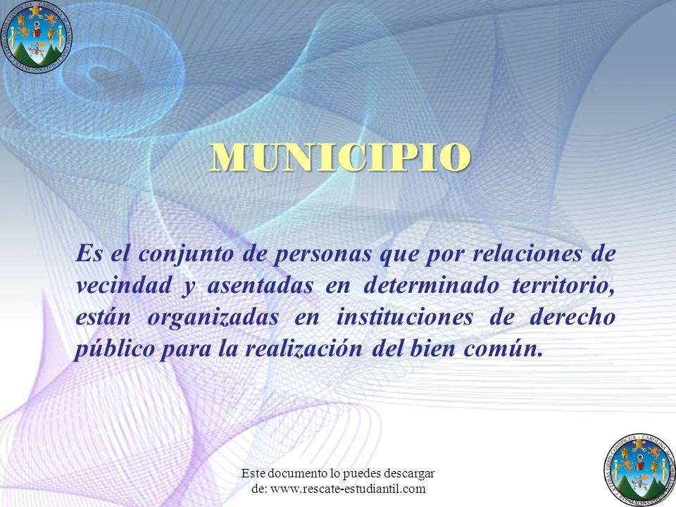 Es el conjunto de personas que por relaciones de vecindad y asentadas en determinado territorio, están organizadas en instituciones de derecho público