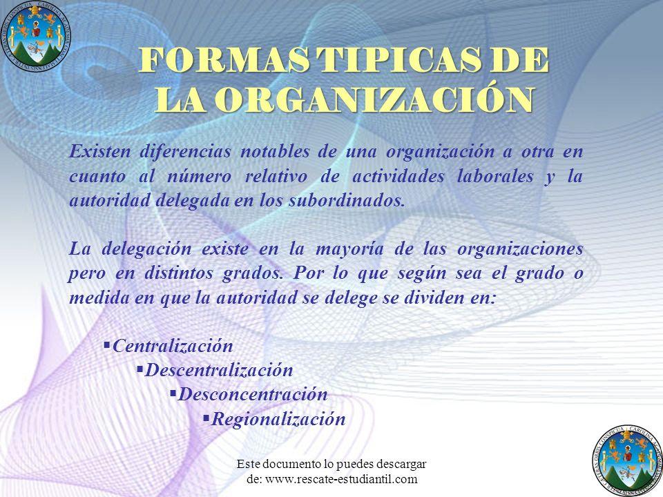 FORMAS TIPICAS DE LA ORGANIZACIÓN Existen diferencias notables de una organización a otra en cuanto al número relativo de actividades laborales y la a