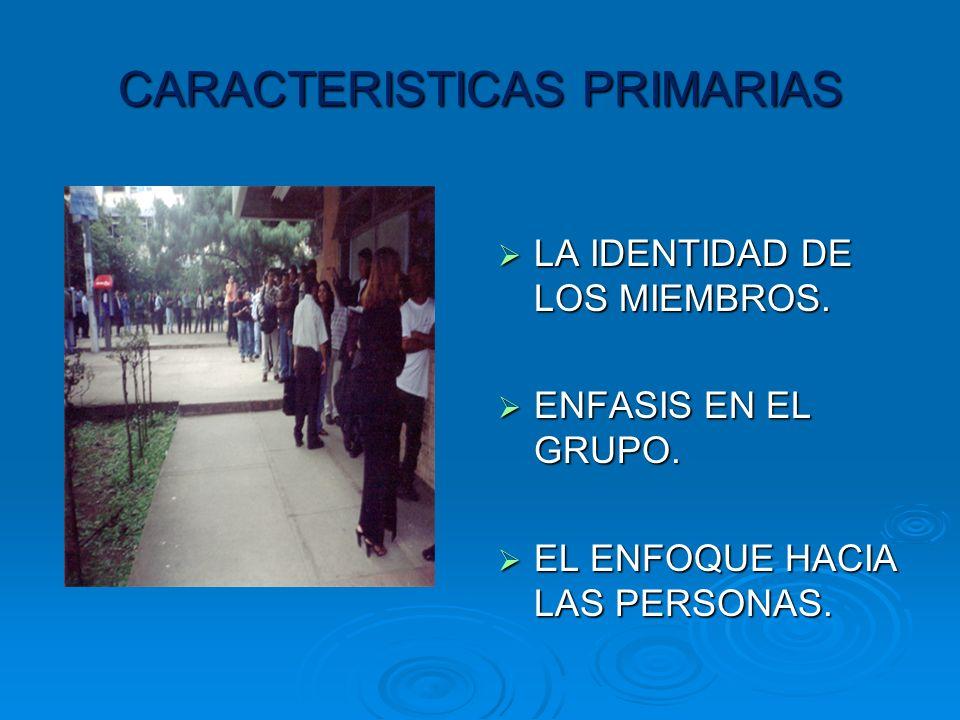 CARACTERISTICAS PRIMARIAS LA LA IDENTIDAD DE LOS MIEMBROS.