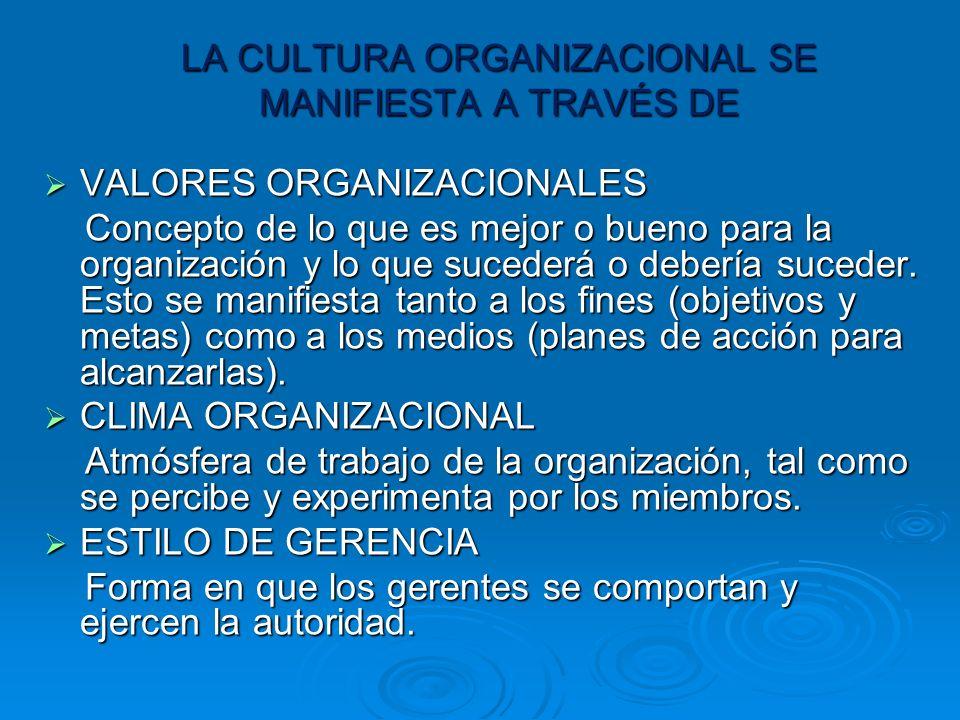 LA CULTURA ORGANIZACIONAL SE MANIFIESTA A TRAVÉS DE VALORES ORGANIZACIONALES VALORES ORGANIZACIONALES Concepto de lo que es mejor o bueno para la organización y lo que sucederá o debería suceder.