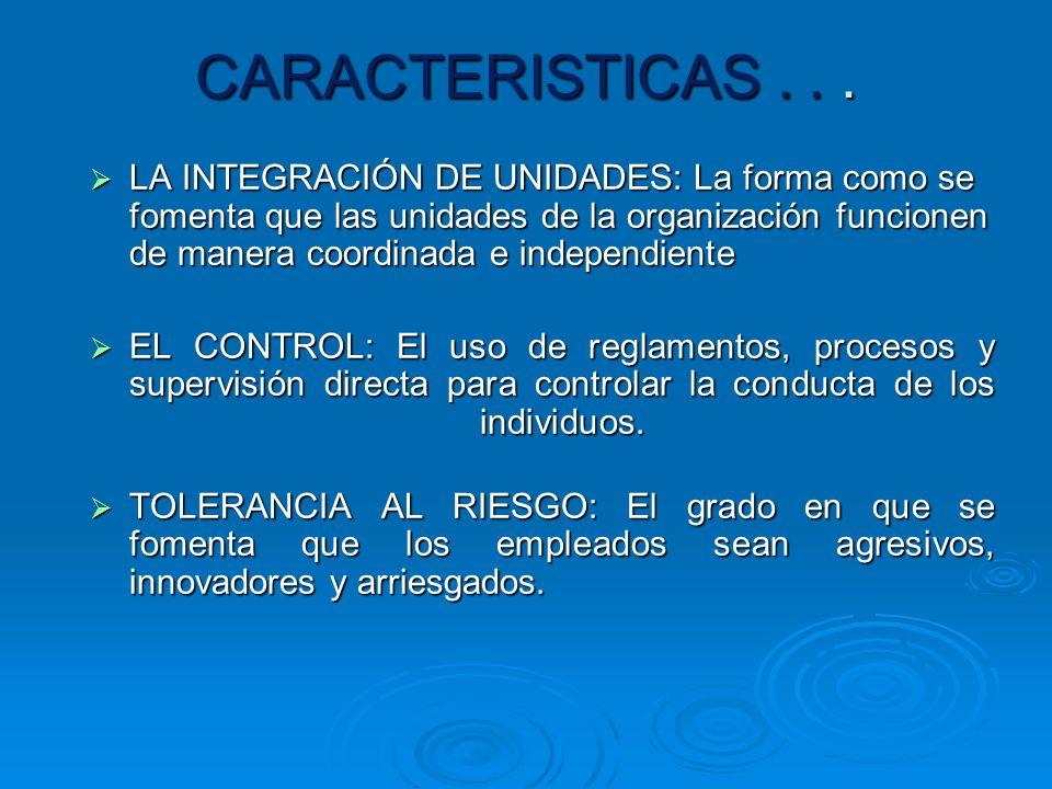 CARACTERISTICAS DE LA CULTURA ORGANIZACIONAL IDENTIDAD DE SUS MIEMBROS: El grado en que los empleados se identifican con la organización como un todo