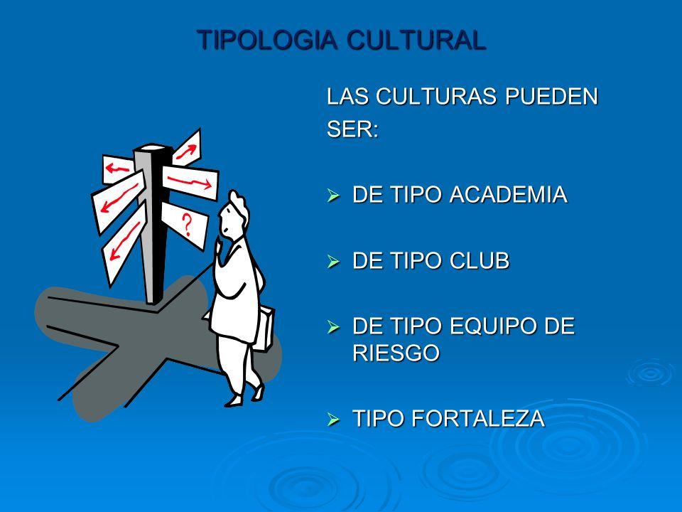 TIPOLOGIA CULTURAL LAS CULTURAS PUEDEN SER: DE DE TIPO ACADEMIA TIPO CLUB TIPO EQUIPO DE RIESGO TIPO TIPO FORTALEZA
