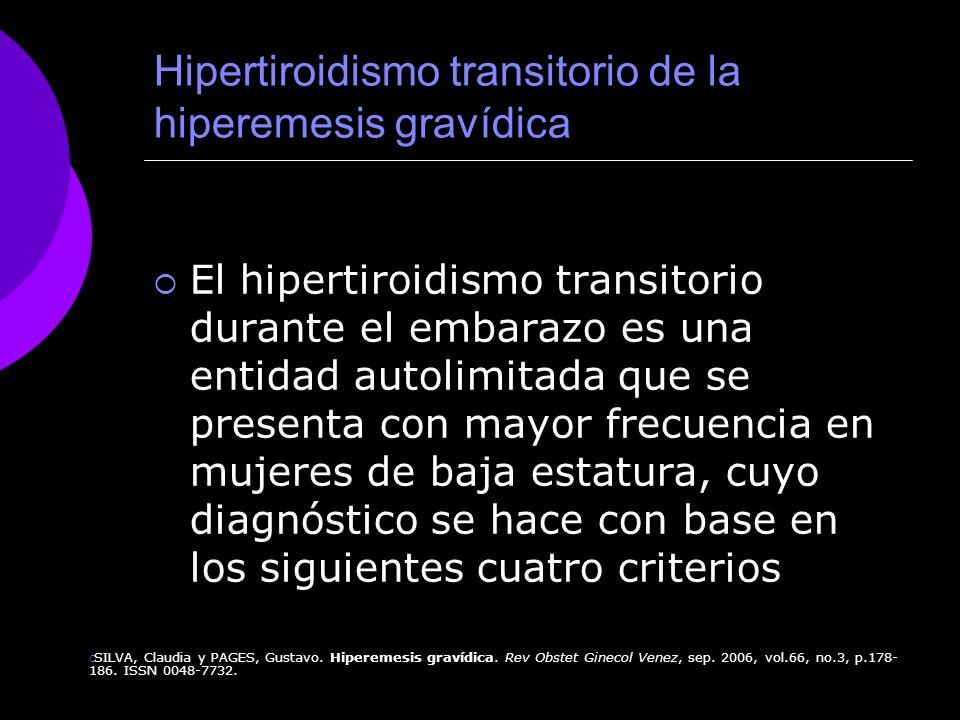 Hipertiroidismo transitorio de la hiperemesis gravídica El hipertiroidismo transitorio durante el embarazo es una entidad autolimitada que se presenta
