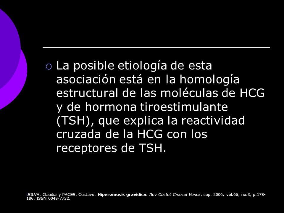 La posible etiología de esta asociación está en la homología estructural de las moléculas de HCG y de hormona tiroestimulante (TSH), que explica la re