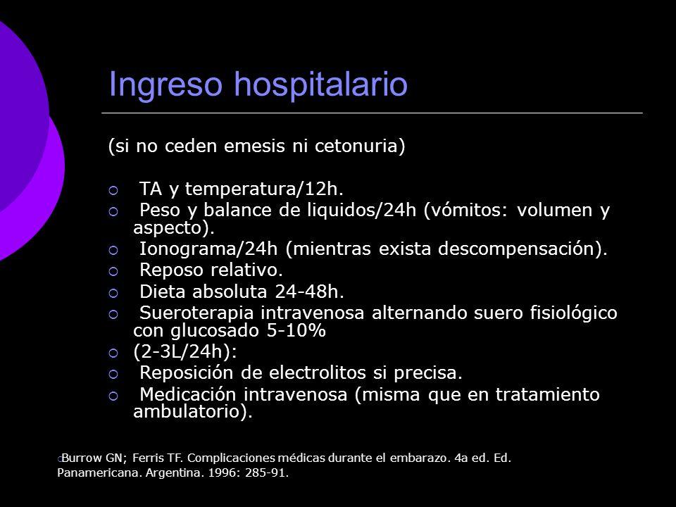 Ingreso hospitalario (si no ceden emesis ni cetonuria) TA y temperatura/12h. Peso y balance de liquidos/24h (vómitos: volumen y aspecto). Ionograma/24