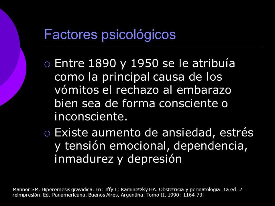 Factores psicológicos Entre 1890 y 1950 se le atribuía como la principal causa de los vómitos el rechazo al embarazo bien sea de forma consciente o in