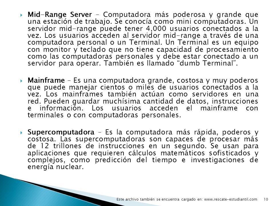 Mid-Range Server – Computadora más poderosa y grande que una estación de trabajo. Se conocía como mini computadoras. Un servidor mid-range puede tener