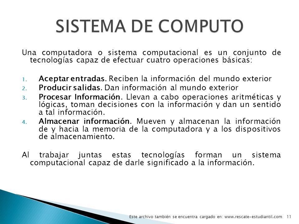 Una computadora o sistema computacional es un conjunto de tecnologías capaz de efectuar cuatro operaciones básicas: 1. Aceptar entradas. Reciben la in