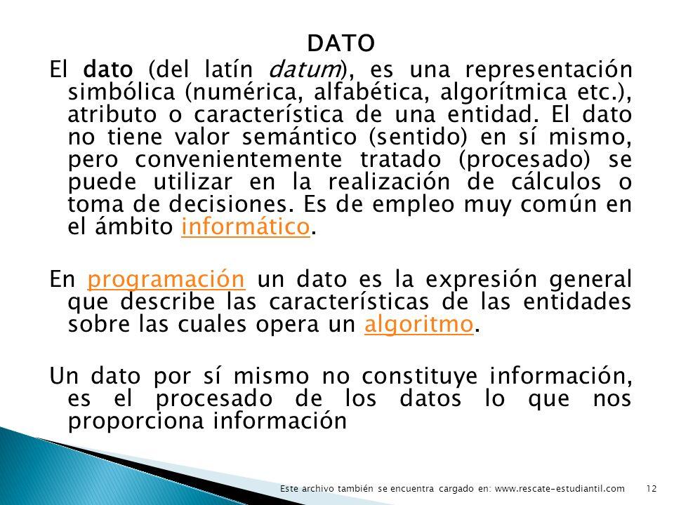 DATO El dato (del latín datum), es una representación simbólica (numérica, alfabética, algorítmica etc.), atributo o característica de una entidad. El