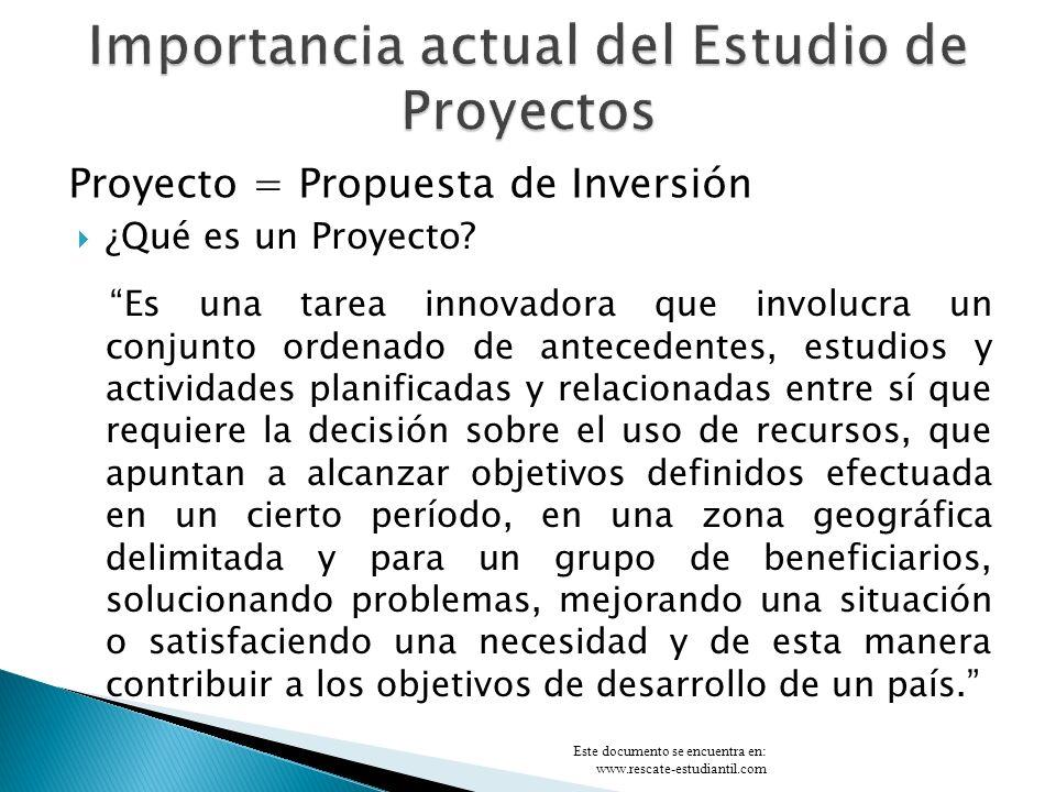 OPERACIÓN FUNCIONAMIENTO PREINVERSIÓN DISEÑO FINAL INVERSIÓN EJECUCIÓN PROBLEMAS/NECESIDADES CICLO DE VIDA DE UN PROYECTO EX-ANTE EX-POST DURANTE PROCESO DE EVALUACIÓN Financiera Económica/Social Ambiental, EIA Físico Financiero Calidad Producto/Servicio Efectos Impactos PROMOCIÓN NEGOCIACIÓN Y FINANCIAMIENTO Este documento se encuentra en: www.rescate-estudiantil.com