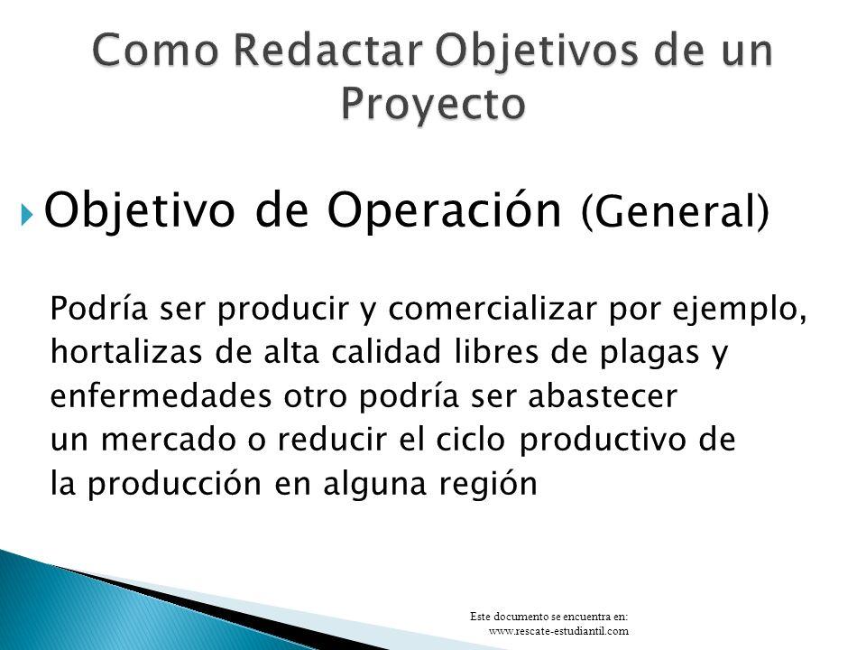 Objetivo de Ejecución (Específico) Construir para la producción de x producto que sea de alta calidad en un plazo determinado: Podría ser un invernadero, una bodega, una oficina, una cerca viva.