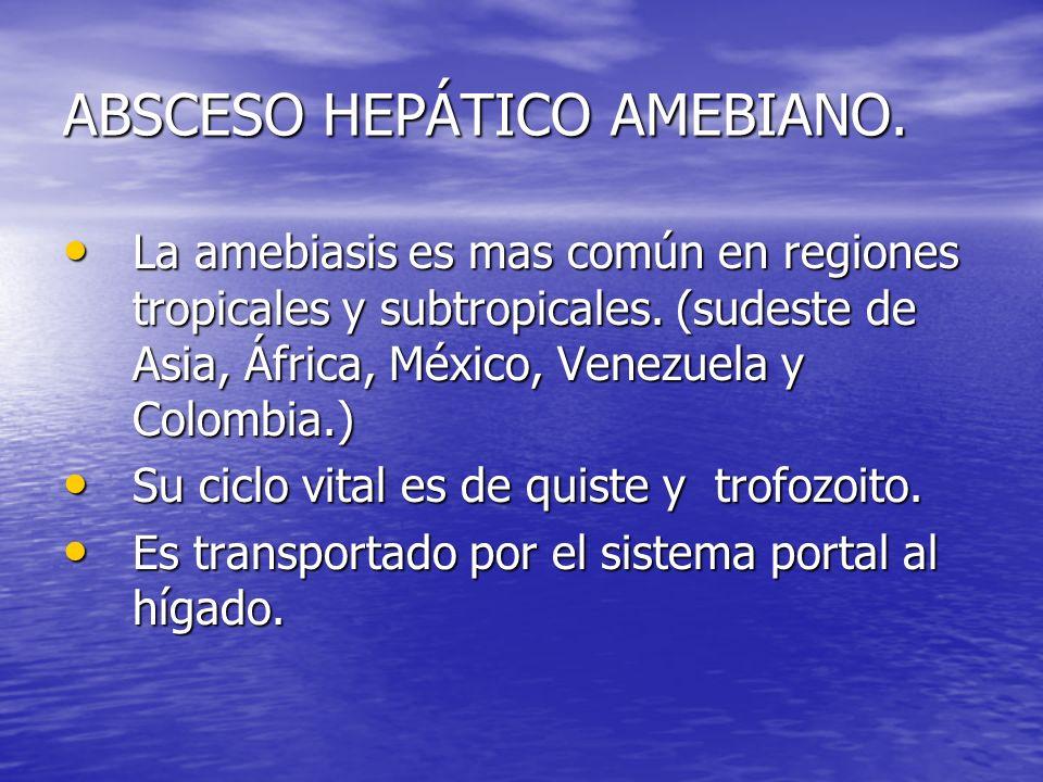 ABSCESO HEPÁTICO AMEBIANO. La amebiasis es mas común en regiones tropicales y subtropicales. (sudeste de Asia, África, México, Venezuela y Colombia.)
